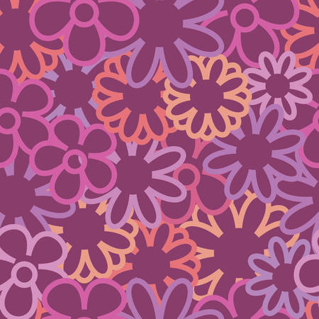 Vector Purple Background Floral Seamless Pattern Ilustração