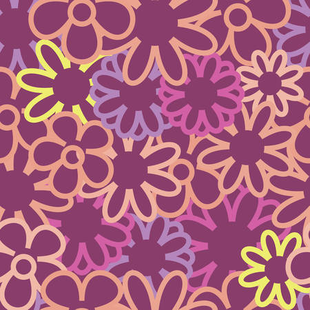 Vector Purple Background Outlines Seamless Pattern
