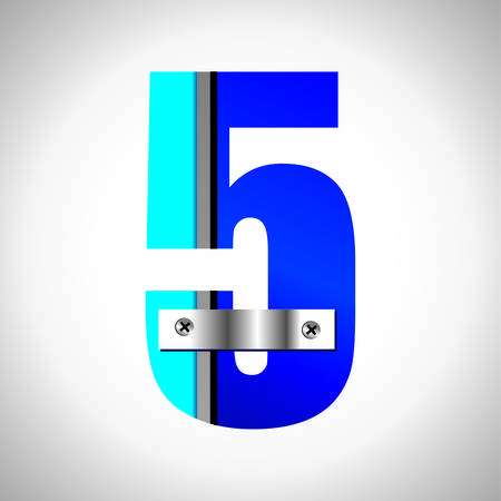 numerical value: Typography Vector set of blue metallic fonts
