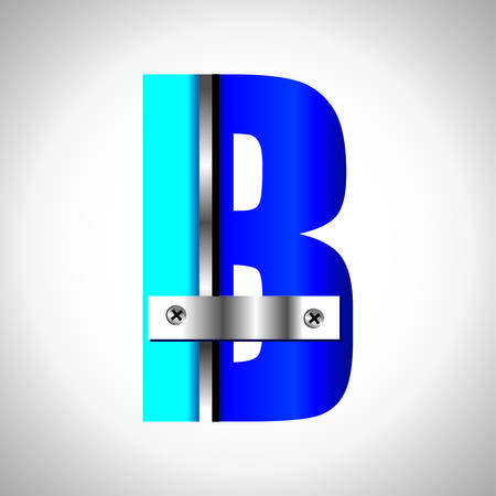 Typography Vector set of blue metallic fonts Vector