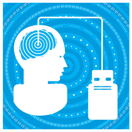 time sharing: gGlobal communications silhouette of a mans head with a network. Concept of communication