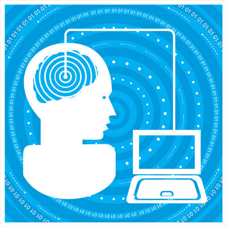 information medium: gGlobal communications silhouette of a mans head with a network. Concept of communication