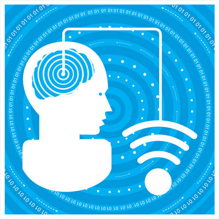 time sharing: Global communications a mans head with a network. Concept of communication Illustration