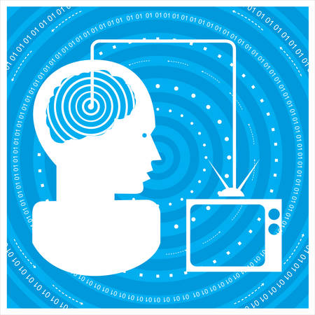 social gathering: Global communications a mans head with a network. Concept of communication Illustration