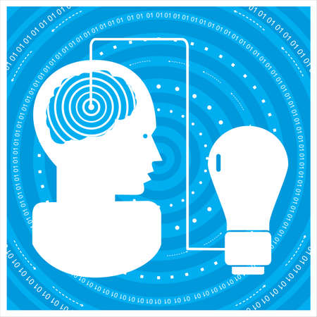 time sharing: global communications silhouette of a mans head with a network. Concept of communication Stock Photo