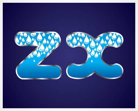 Waterdruppels alfabet. Stock Illustratie