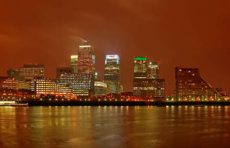 docklands: London Docklands At Night Stock Photo
