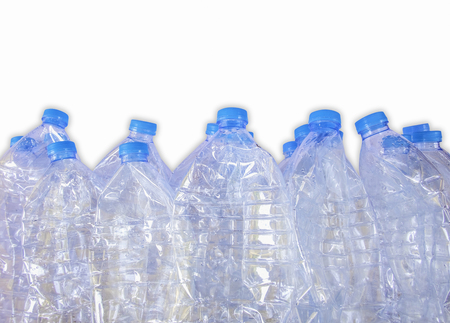 Empty plastic bottles of water for recycle,Isolate on white background with clipping path 版權商用圖片 - 95839382