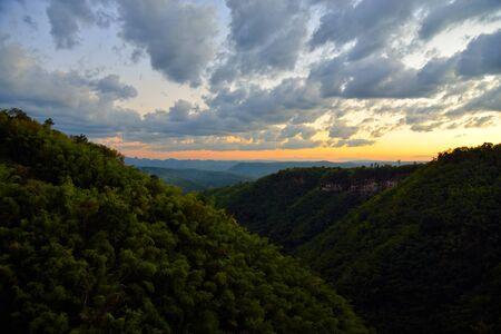 Mountain valley sunset landscape, Nam Nao National Park, Thailand