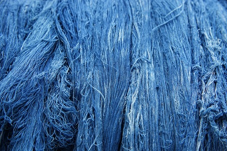 Blue indigo dye cotton thread : Close up Stock fotó