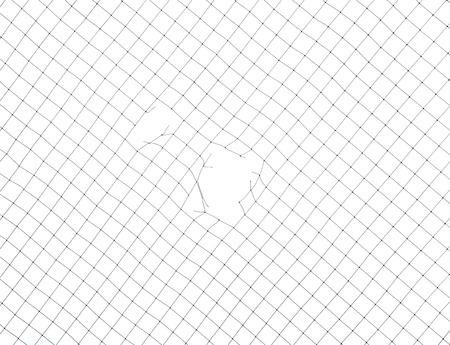 Mesh netting with hole isolated on white background