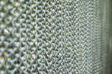 Metal curtain on the entrance of bird park : Close up