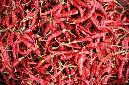 Dry hot chillis background : Close up