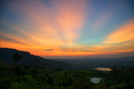 Light on the mountain after sunset : Khao Kho, Phetchabun, Thailand