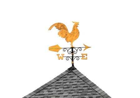 Golden weather vane chicken on roof isolated on white background 스톡 콘텐츠 - 107258661