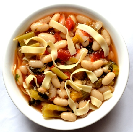 Bean soup with vegetables and noodles  Stock fotó