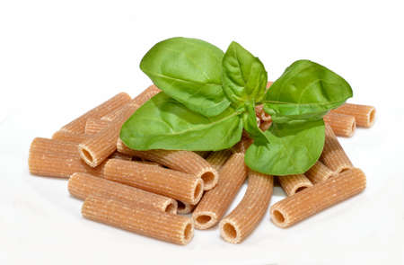 Basil and whole wheat pasta  Banco de Imagens