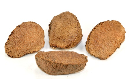 Four Brazil nuts on a white background.