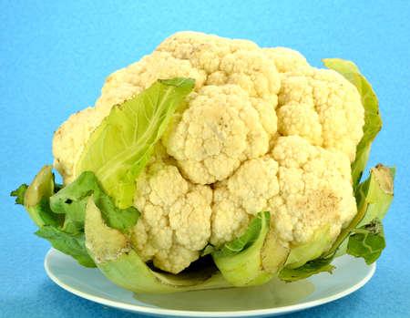 Head of Cauliflower on a blue background.