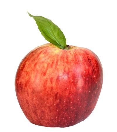 白い背景の葉とリンゴ