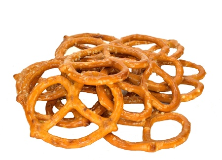 A pile of pretzels on a white background.