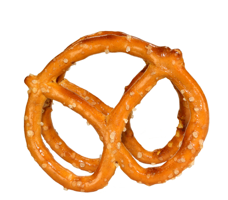 Two pretzels standing on a white background.