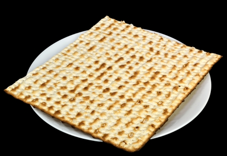 matzos: Matzoh on a plate - jewish passover bread