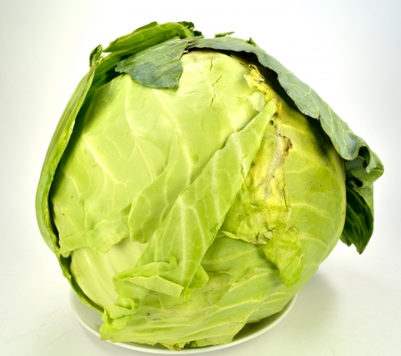 Head of cabbage on a white background.