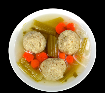Matzo ball soup on a black background. Stock Photo - 25673959