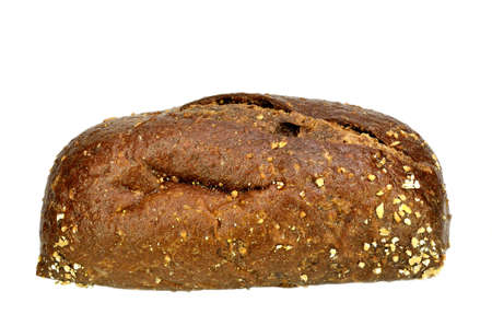 pumpernickel: Large Pumpernickel roll on a white. Stock Photo