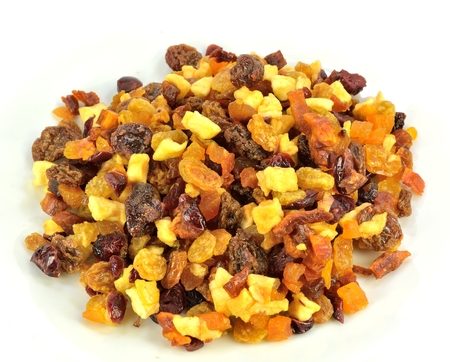 Pile of fruit bits on a white background.