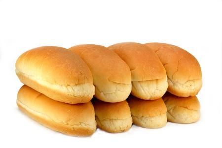 Hot dog buns on a white background. Stock Photo