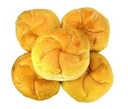 kaiser: Five kaiser rolls on a white background.