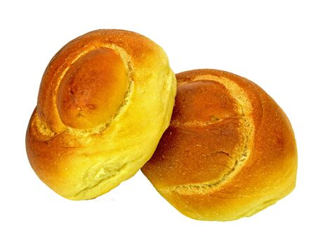 twist: Two egg twist rolls on a white background.