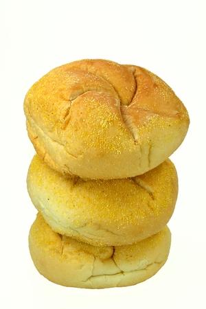kaiser: Three kaiser rolls on a white background.