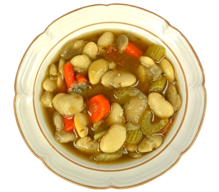 lima bean: Lima bean soup on a white background.