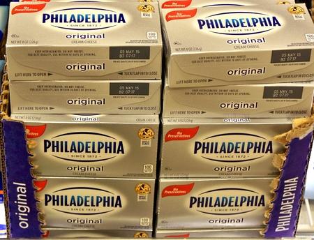 モントヴェール、ニューヨーク、アメリカ合衆国、2014 年 12 月 13 日クリーム チーズ市場で展示
