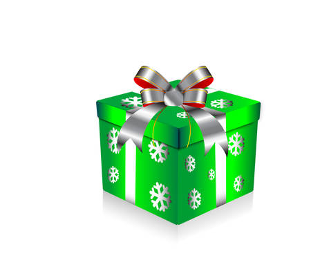 green gift box with snowflakes texture Illustration