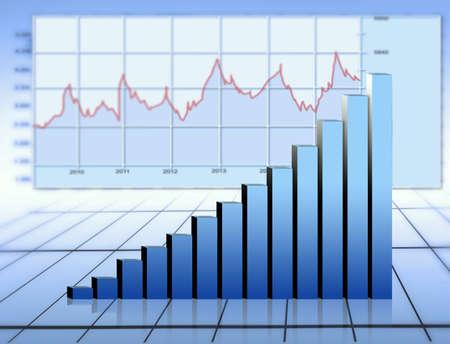 statistique: graphe bleu Banque d'images
