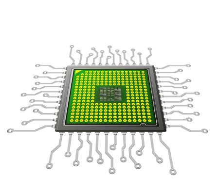 futurista concepto de microchip, la nanotecnología Foto de archivo