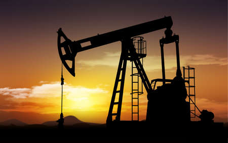 drilling well: oil field and oil pump extraction
