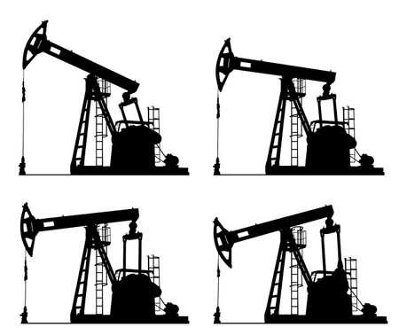 puits de petrole: puits de p�trole pompe jack silhouette isol�es