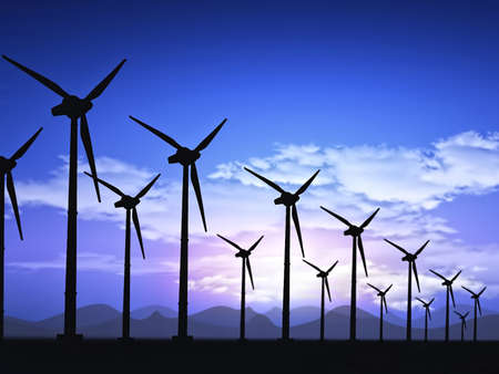 power in nature turbine: wind field with wind turbines  Stock Photo