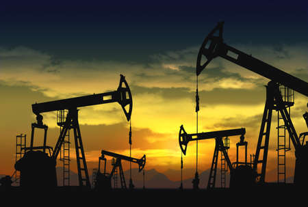 oil pump jack in operation Stock Photo
