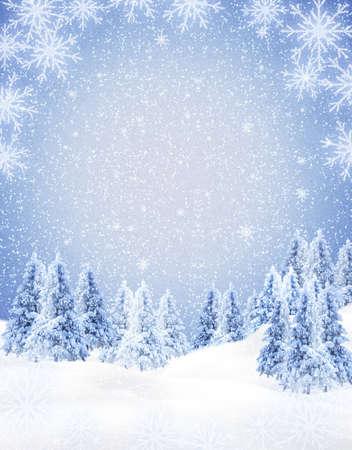christmas landscape: winter frame