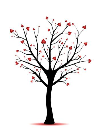 falling in love: tree with hearts,love concept