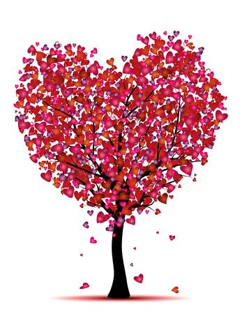 beauty heart tree, love concept Illustration