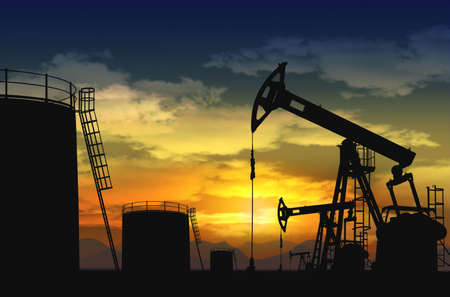 oil well: oil pump jack and oil tank silhouette