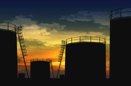 oil terminal , oil tank silhouette