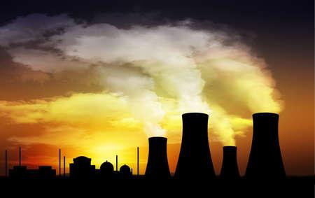 contaminacion ambiental: planta de energ�a nuclear, torres de refrigeraci�n Foto de archivo